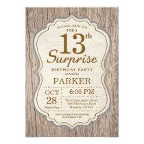 Rustic Surprise 13th Birthday Invitation Wood