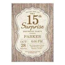 Rustic Surprise 15th Birthday Invitation Wood