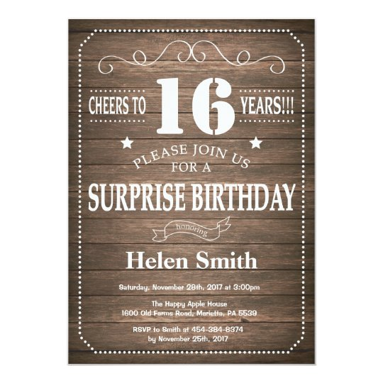 Rustic Surprise 16th Birthday Invitation