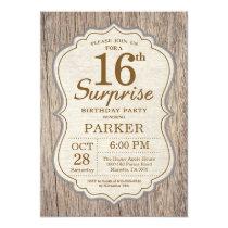 Rustic Surprise 16th Birthday Invitation Wood