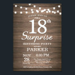 """Rustic Surprise 18th Birthday Invitation Wood<br><div class=""""desc"""">Rustic Surprise 18th Birthday Invitation with String Lights Wood Background. 13th 15th 16th 18th 21st 30th 40th 50th 60th 70th 80th 90th 100th,  Any age. For further customization,  please click the """"Customize it"""" button and use our design tool to modify this template.</div>"""