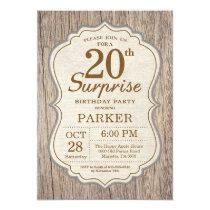 Rustic Surprise 20th Birthday Invitation Wood