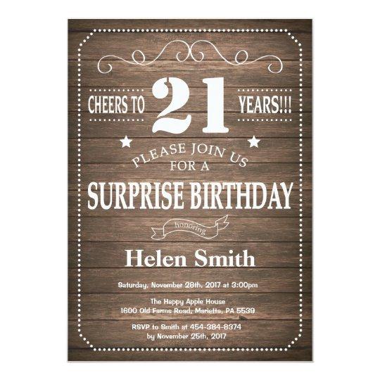 Rustic Surprise 21st Birthday Invitation