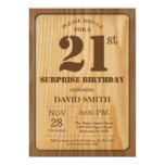 Rustic Surprise 21st Birthday Invitation Wood