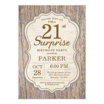 Rustic Surprise 21st Birthday Invitation Wood