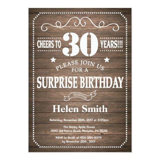 Rustic Surprise 30th Birthday Invitation