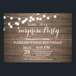 "Rustic Surprise 30th Birthday Invitation Wood<br><div class=""desc"">Rustic Surprise 30th Birthday Invitation with String Lights Wood Background. 13th 15th 16th 18th 21st 30th 40th 50th 60th 70th 80th 90th 100th,  Any age. For further customization,  please click the ""Customize it"" button and use our design tool to modify this template.</div>"