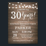 """Rustic Surprise 30th Birthday Invitation Wood<br><div class=""""desc"""">Rustic Surprise 30th Birthday Invitation Wood Background with String Lights. 13th 15th 16th 18th 20th 21st 30th 40th 50th 60th 70th 80th 90th 100th, Any age. Adult Birthday. Woman or Man Male Birthday Party. For further customization, please click the """"Customize it"""" button and use our design tool to modify this...</div>"""