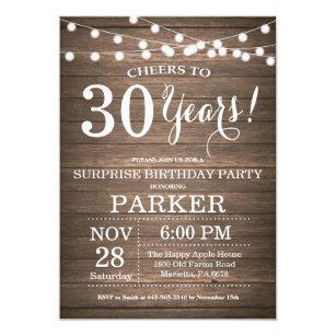 Rustic Surprise 30th Birthday Invitation Wood