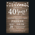 "Rustic Surprise 40th Birthday Invitation Wood<br><div class=""desc"">Rustic Surprise 40th Birthday Invitation Wood Background with String Lights. 13th 15th 16th 18th 20th 21st 30th 40th 50th 60th 70th 80th 90th 100th, Any age. Adult Birthday. Woman or Man Male Birthday Party. For further customization, please click the ""Customize it"" button and use our design tool to modify this...</div>"