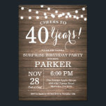 """Rustic Surprise 40th Birthday Invitation Wood<br><div class=""""desc"""">Rustic Surprise 40th Birthday Invitation Wood Background with String Lights. 13th 15th 16th 18th 20th 21st 30th 40th 50th 60th 70th 80th 90th 100th, Any age. Adult Birthday. Woman or Man Male Birthday Party. For further customization, please click the """"Customize it"""" button and use our design tool to modify this...</div>"""
