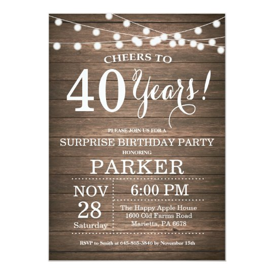 Rustic Surprise 40th Birthday Invitation Wood Zazzle Com