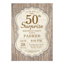 Rustic Surprise 50th Birthday Invitation Wood