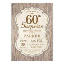 Rustic Surprise 60th Birthday Invitation Wood