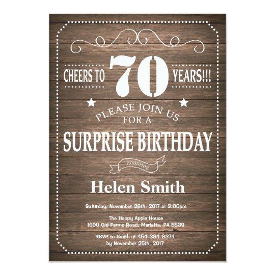 Rustic Surprise 70th Birthday Invitation