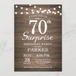"""Rustic Surprise 70th Birthday Invitation Wood<br><div class=""""desc"""">Rustic Surprise 70th Birthday Invitation with String Lights Wood Background. 13th 15th 16th 18th 21st 30th 40th 50th 60th 70th 80th 90th 100th,  Any age. For further customization,  please click the """"Customize it"""" button and use our design tool to modify this template.</div>"""