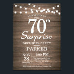 "Rustic Surprise 70th Birthday Invitation Wood<br><div class=""desc"">Rustic Surprise 70th Birthday Invitation with String Lights Wood Background. 13th 15th 16th 18th 21st 30th 40th 50th 60th 70th 80th 90th 100th,  Any age. For further customization,  please click the ""Customize it"" button and use our design tool to modify this template.</div>"