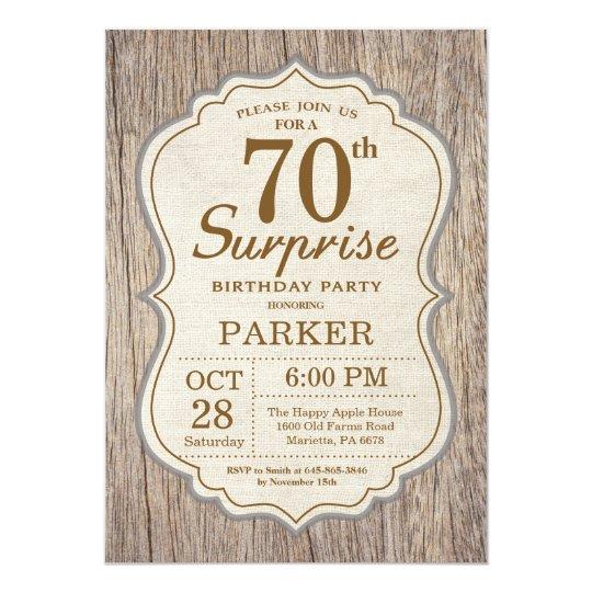 rustic surprise 70th birthday invitation wood zazzle com