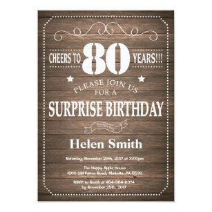 Rustic Surprise 80th Birthday Invitation