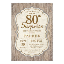 Rustic Surprise 80th Birthday Invitation Wood
