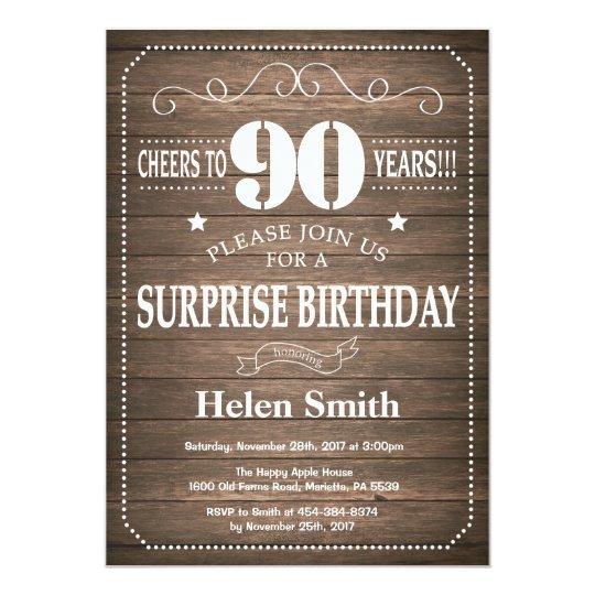 Rustic Surprise 90th Birthday Invitation
