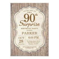 Rustic Surprise 90th Birthday Invitation Wood