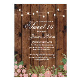 Rustic Sweet 16 Party Coral Floral Wood Invite