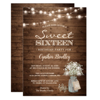 Rustic Sweet Sixteen Baby's Breath String Lights Card