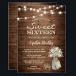 "Rustic Sweet Sixteen Baby&#39;s Breath String Lights Invitation<br><div class=""desc"">Baby&#39;s Breath Rustic String Lights Sweet Sixteen Birthday Party Invitations (1) For further customization, please click the &quot;customize further&quot; link and use our design tool to modify this template. (2) If you prefer Thicker papers / Matte Finish, you may consider to choose the Matte Paper Type. (3) If you need...</div>"