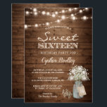 """Rustic Sweet Sixteen Baby's Breath String Lights Invitation<br><div class=""""desc"""">Baby's Breath Rustic String Lights Sweet Sixteen Birthday Party Invitations (1) For further customization, please click the """"customize further"""" link and use our design tool to modify this template. (2) If you prefer Thicker papers / Matte Finish, you may consider to choose the Matte Paper Type. (3) If you need...</div>"""