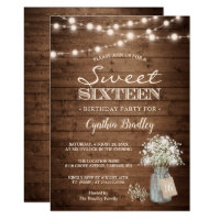 Rustic Sweet Sixteen Baby's Breath String Lights Invitation