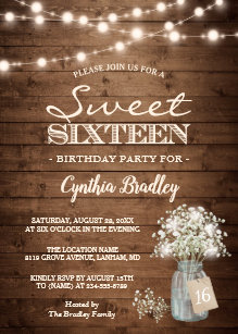 Rustic Sweet Sixteen Babys Breath String Lights Invitation
