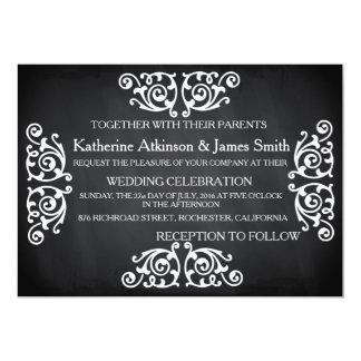 Rustic Swirl Floral Chalkboard Wedding Card