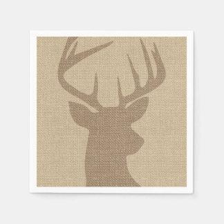 Rustic Tan Burlap Deer Buck Napkin