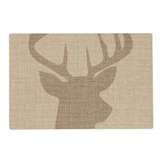 Rustic Tan Burlap Deer Buck Placemat