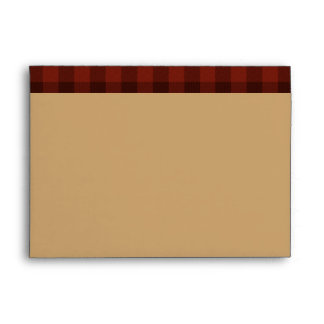 Rustic Tan, Red Black Plaid Envelope for 5x7 Sizes