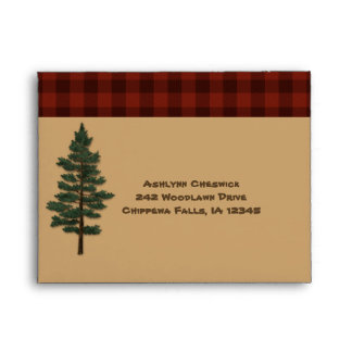 Rustic Tan, Red Black Plaid Envelope for RSVP's
