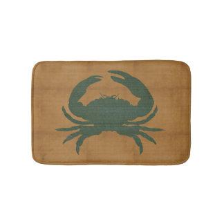Rustic Tan with Dark Green Crab Bathroom Mat