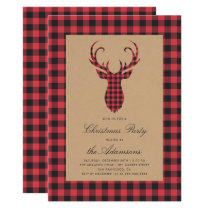 Rustic Tartan Plaid Reindeer Christmas Party Invitation