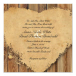 Rustic Tattered Heart Wood Look Country Wedding Card
