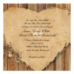 Rustic Tattered Heart Wood Look Country Wedding Personalized Invitation