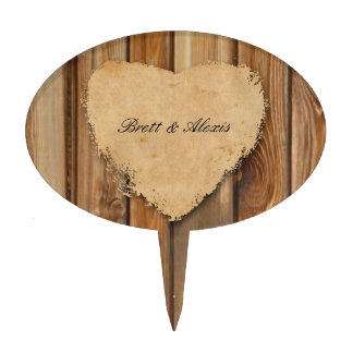 Rustic Tattered Heart Wood Personalized Cake Topper