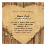 Rustic Tattered Heart Wood Style Country Wedding Card