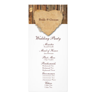 Rustic Tattered Heart Wood Wedding Program Rack Card