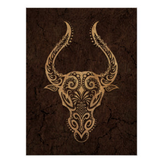 Rustic Taurus Zodiac Sign on Stone Effect Poster