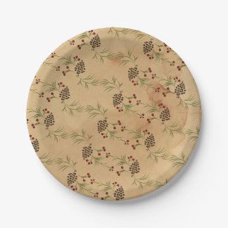 Rustic Tea-Stained Design Holly Berries Pine Cones Paper Plate