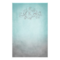 Rustic Teal and Grey Bohemian  Flourish Stationery