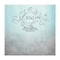 Rustic Teal and Grey Bohemian Guest Book Canvas