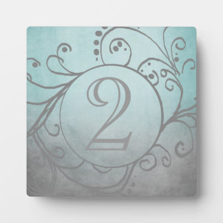 Rustic Teal and Grey Bohemian Table Number Display Plaques