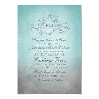 Rustic Teal and Grey Bohemian Wedding Invitation